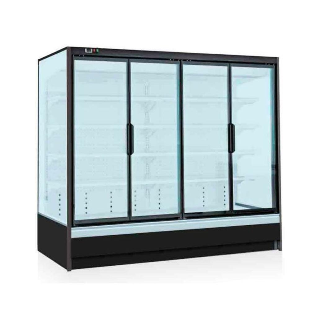 Tủ mát trưng bày thực phẩm 4 cánh cửa kính mở ra, 3 mặt kính