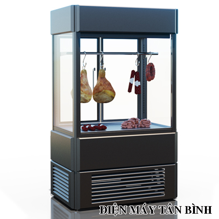 Tủ mát trưng bày thịt bò, Trâu, Dê, bê thui có kính