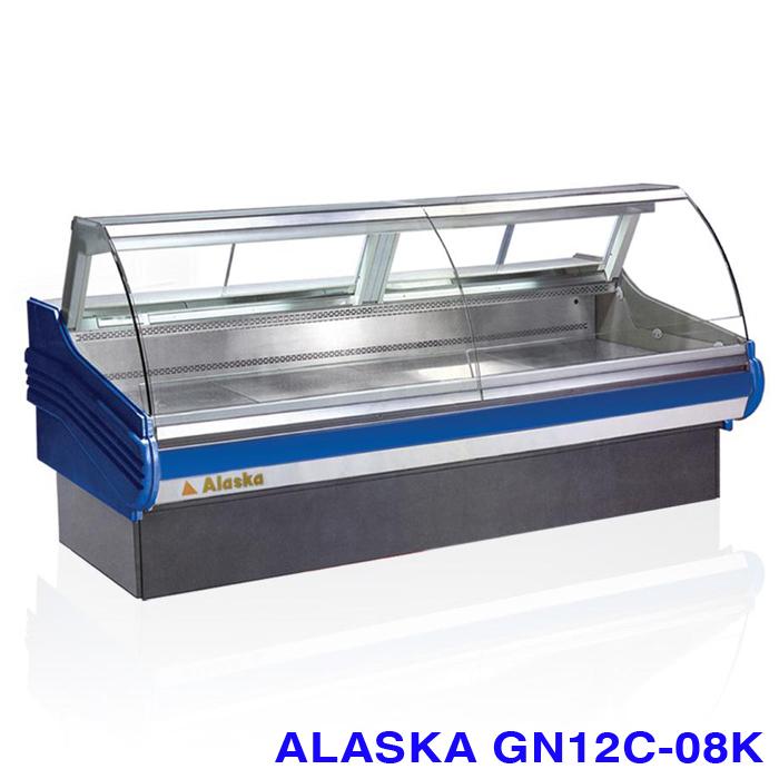 Tủ mát kính cong trưng bày thịt heo Alaska GN12C-08K