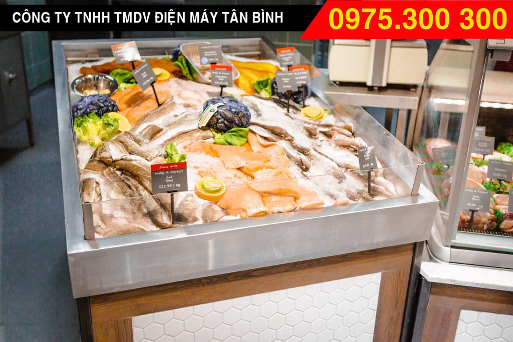 Tủ đông lạnh có kính trưng bày cá biển trong siêu thị