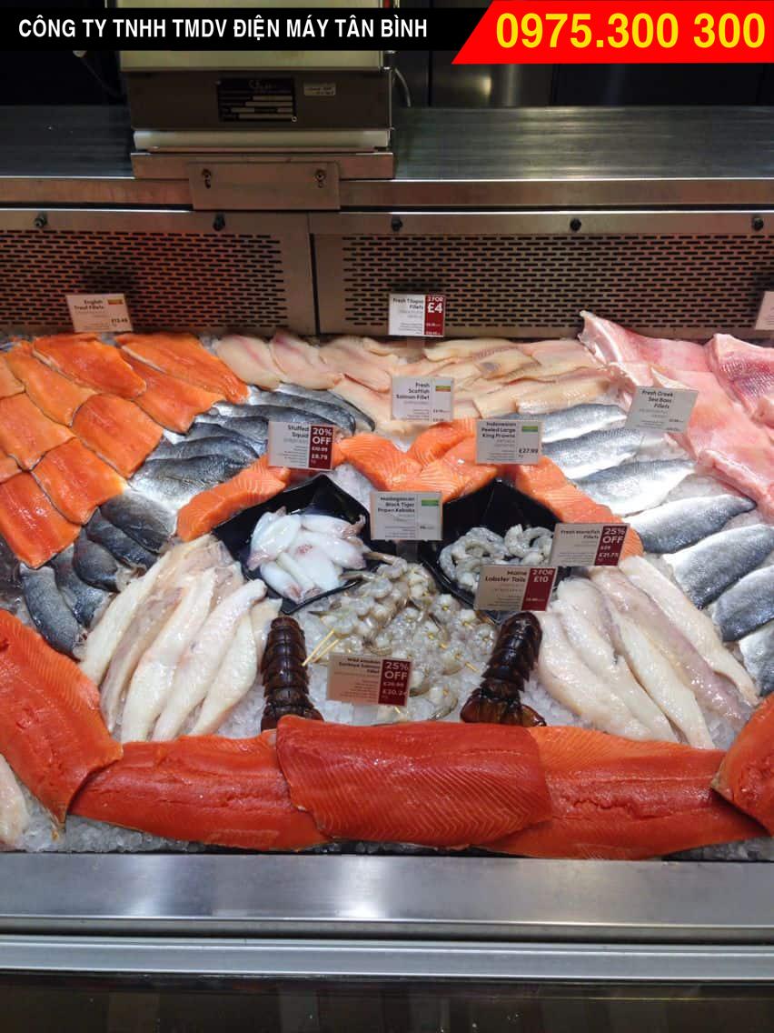 Tủ inox có máy làm lạnh hải sản biển tươi sống