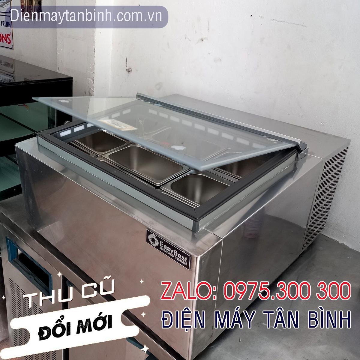 Tủ đông kem cũ mặt kính Easybest mini đặt bàn, có 4 khay inox