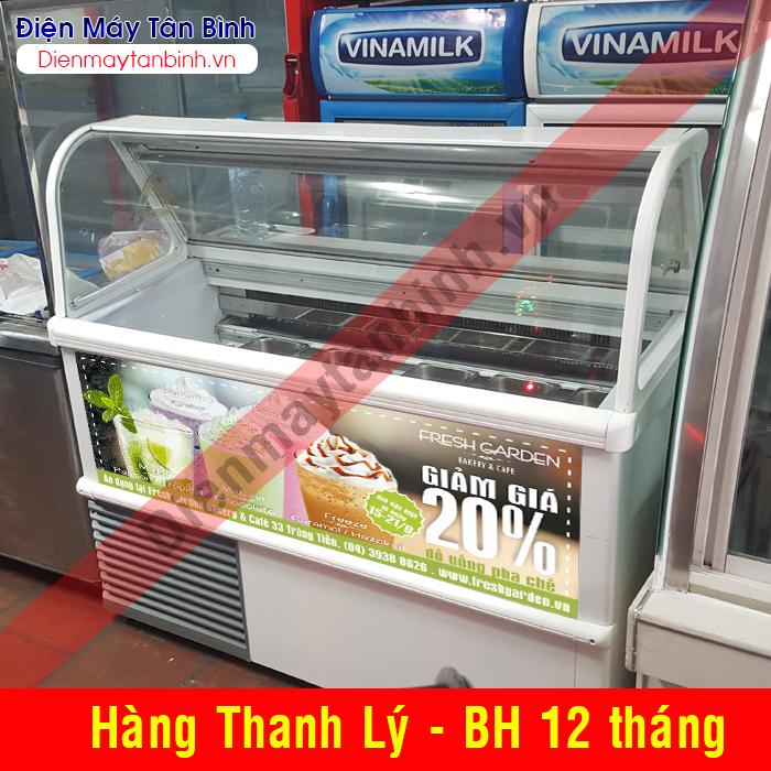 Tủ đông cũ kính cong có khay trưng bày kem