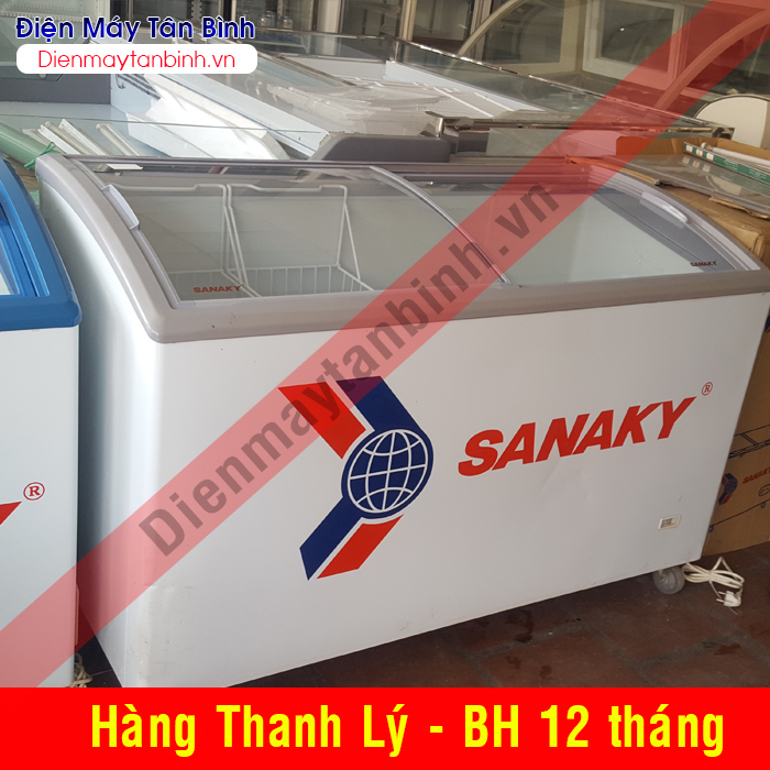 Tủ kem cũ kính cong Sanaky 600 lít qua sử dụng
