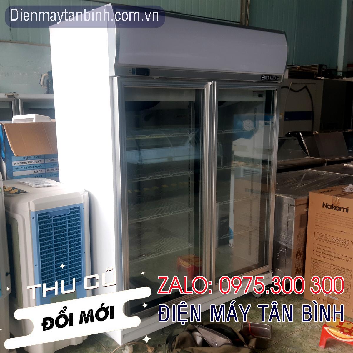 Tủ đông cũ 2 cửa kính Berjaya 1000 lít thực phẩm đông lạnh