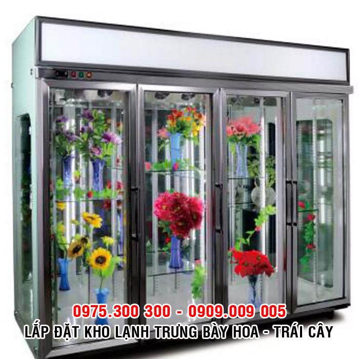 Tủ mát trưng bày hoa, trái cây 4 cửa kính