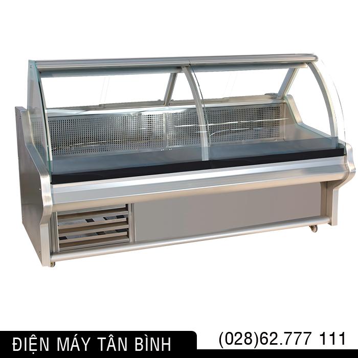Tủ quầy lạnh kính cong trưng bày thịt heo tươi dài 2m